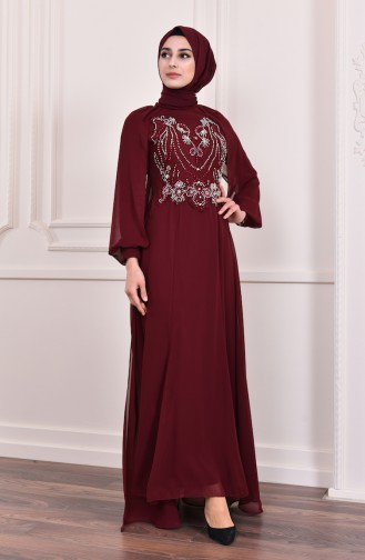Perlenstickerei Abendkleid   3004-04 Weinrot 3004-04