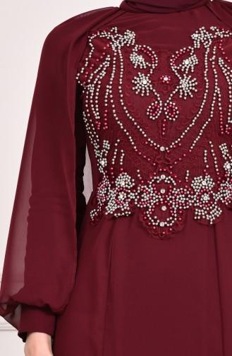 فستان سهرة بتفاصيل مُطرزة بالخرز 3004-04 لون خمري 3004-04