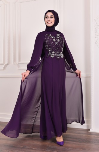 Beading Embroidered Evening Dress  3004-05 Purple 3004-05