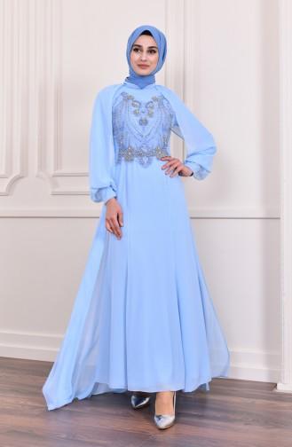 Perlenstickerei Abendkleid  3004-06 Babyblau 3004-06