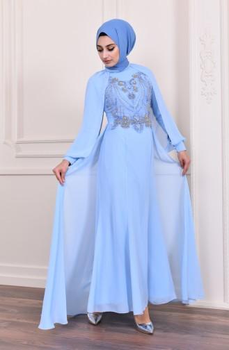 Boncuk İşlemeli Abiye Elbise 3004-06 Bebek Mavisi