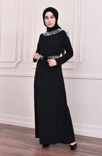 İncili Kuşaklı Elbise 81682-01 Siyah