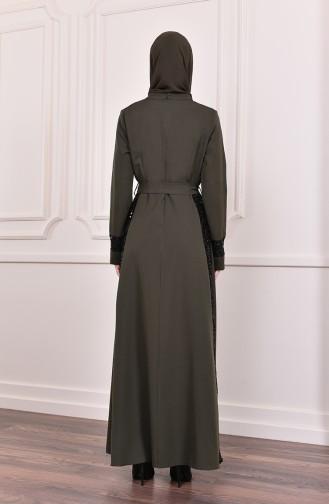 Payetli Kuşaklı Elbise 81702-04 Haki 81702-04
