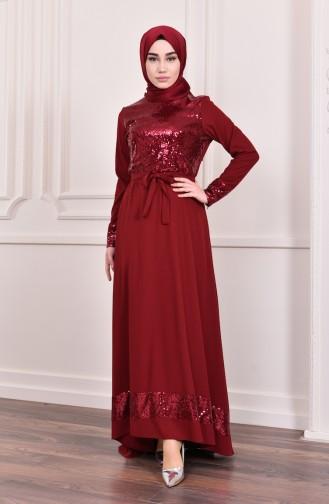 Payetli Kuşaklı Elbise 2024-01 Bordo