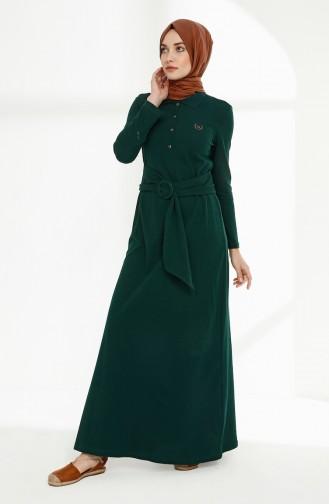 Kemerli Polo Yaka Elbise 5048-05 Zümrüt Yeşili