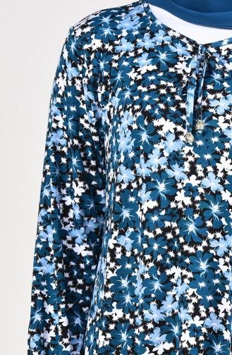 Çiçek Desenli Elbise 1734-01 Petrol 1734-01