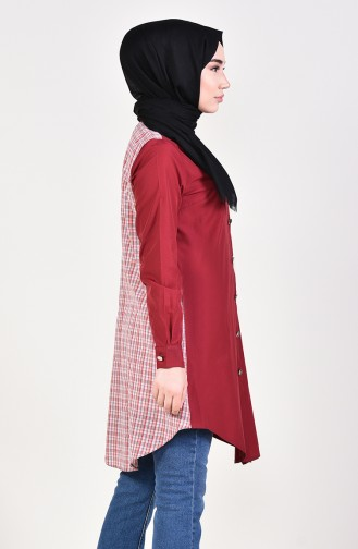 Düğmeli Tunik 6139-01 Bordo 6139-01