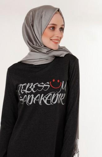 ميناهيل تونيك بتصميم مُطبع 5003-06 لون أسود مائل للرمادي 5003-06