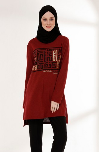 Printed Tunic 5002-04 Claret Red 5002-04