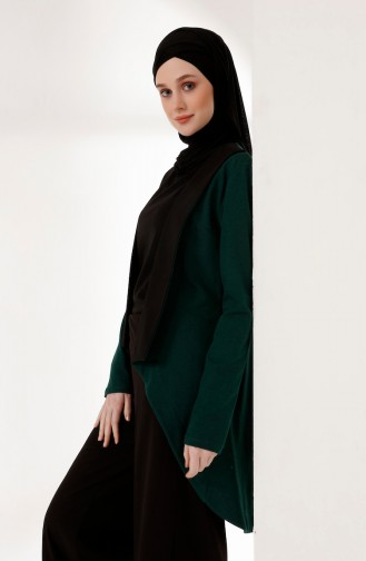 Topped Two Yarn Jacket 3161-08 Emerald Green Black 3161-08
