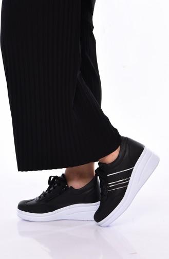 7d2e0e759f677 Sefamerve, Women´s Sports Shoes 0101 Black White Leather
