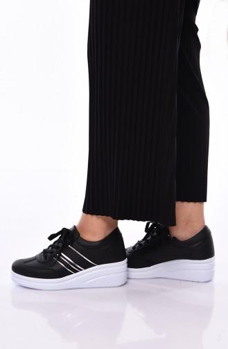 Bayan Spor Ayakkabı 0101 Siyah Beyaz Cilt