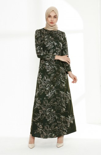 فستان سهرة بتصميم دانتيل مُزين بالترتر اللامع 7237-01 لون أخضر زمردي 7237-01