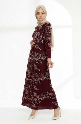 Sequined Lace Overlay Evening Dress  7237-02 Plum 7237-02