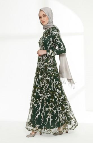 Dantel Kaplama Abiye Elbise 7238-01 Zümrüt Yeşil 7238-01
