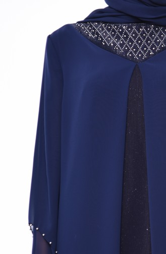 Large Size Pearl Evening Dress 3141-01 Navy Blue 3141-01
