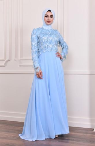فستان سهرة بتفاصيل من الترتر اللامع  8203-02 لون أزرق 8203-02