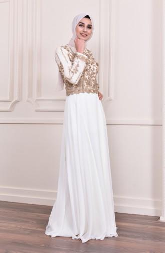 Naturfarbe Hijab-Abendkleider 8229-02