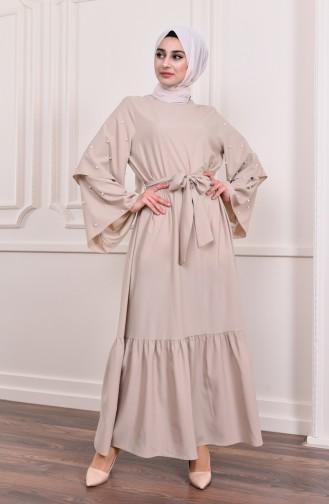فستان بتفاصيل عند اكمام 4274-04 لون بيج 4274-04