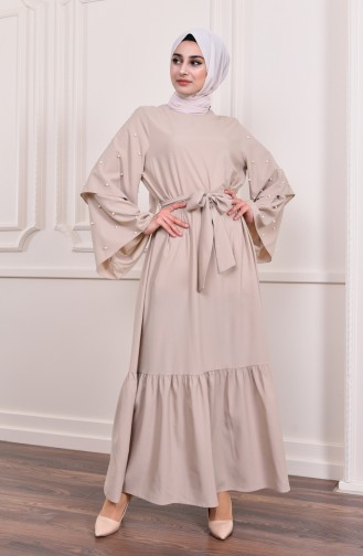 Sleeve Detailed Abaya Dress 4274-04 Beige 4274-04