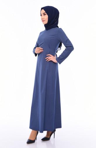Belted Dress 1180-06 Navy Blue Cream 1180-06