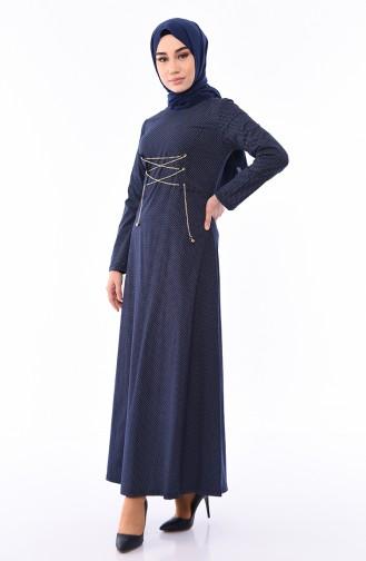 Kuş Gözü Detaylı Elbise 1181-04 Lacivert 1181-04