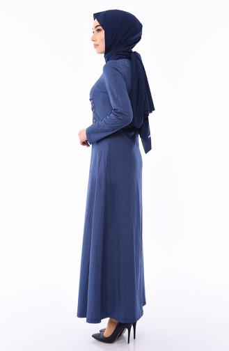 Kuş Gözü Detaylı Elbise 1181-06 Lacivert Krem