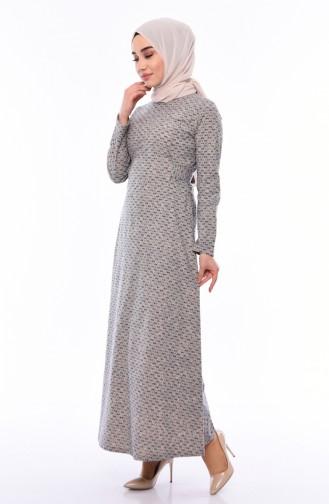 Kemerli Elbise 1184-02 Vizon