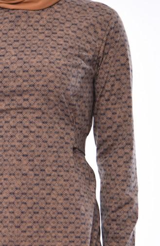 فستان بتصميم حزام للخصر 1184-04 لون بني مائل للرمادي داكن 1184-04