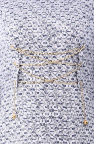 Chain Detail Dress 1185-03 Navy 1185-03