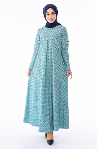 Desenli A Pile Elbise 1186-01 Lacivert