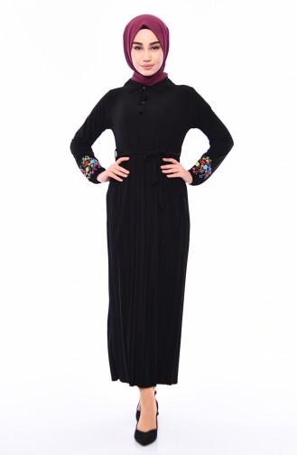 Embroidered Sleeve Pleated Dress 9023-01 Siyah 9023-01