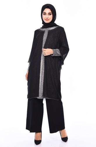 Büyük Beden Takım Görünümlü Tunik 2219-01 Siyah 2219-01