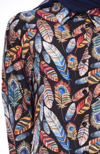 Büyük Beden Desenli Gömlek Tunik 1932-03 Siyah