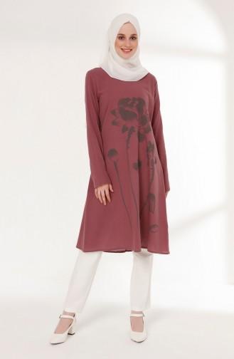 تونيك قماش شيلة بتصميم مطبع 5019-09 لون وردي باهت 5019-09