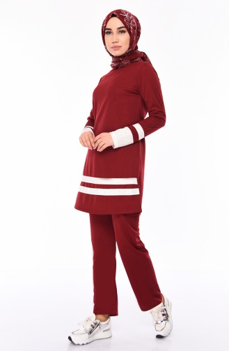 Striped Tracksuit  9026-04 Claret Red 9026-04