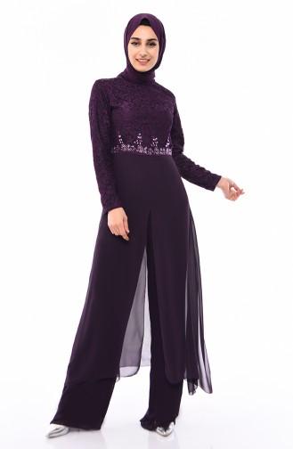 Stone Detailed Pants Blouse Suit 4120-05 Purple 4120-05