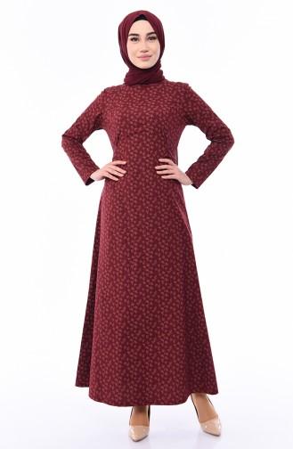Belted Dress 1182-07 Claret Red 1182-07