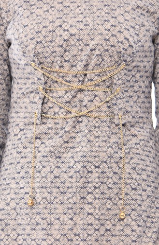 Chain Detail Dress 1185-02 Mink 1185-02