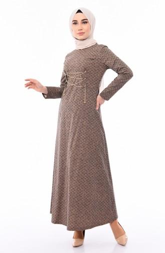 Kuş Gözü Detaylı Elbise 1185-04 Koyu Vizon 1185-04