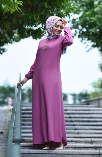 Elastic Sleeve Viscose Dress  2521-02 Dried Rose 2521-02