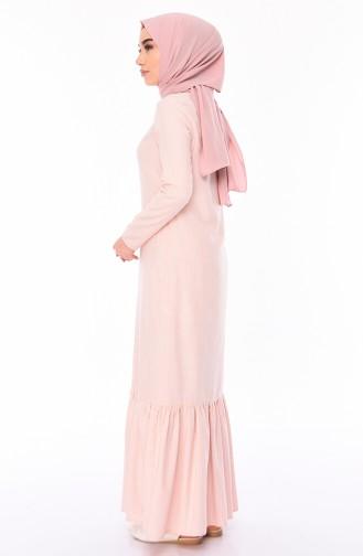 Eteği Büzgülü Pamuklu Elbise 5049-03 Pembe