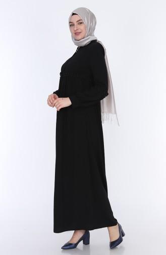 Ruffled Summer Abaya 5928-01 Black 5928-01