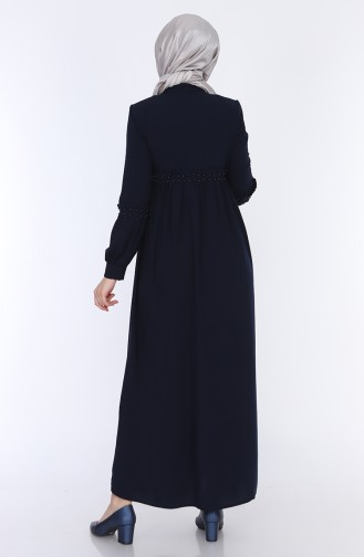 Ruffled Summer Abaya 5928-02 Navy Blue 5928-02