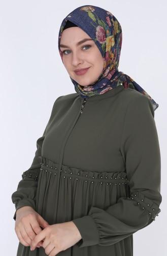 Ruffled Summer Abaya 5928-05 Khaki 5928-05