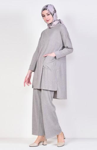 Asymmetric Tunic Trousers Double Suit 3314-07 Mink 3314-07