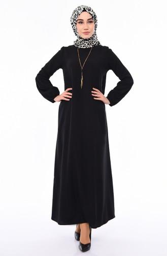 Viscose Sleeve Elastic Dress 1203-01 Black 1203-01
