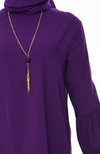 Elastic Sleeve Viscose Dress 1203-03 Purple 1203-03