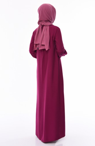 Elastic Sleeve Viscose Dress 1203-04 Plum 1203-04