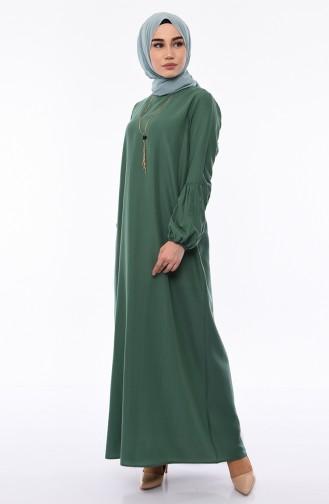 Elastic Sleeve Viscose Dress 1203-05 Almond Green 1203-05